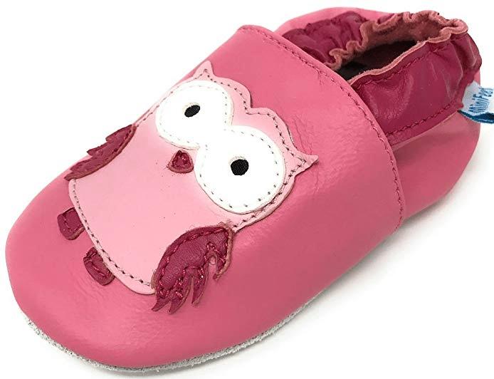 reputable site 9eb71 54cf6 Weich Leder Babyschuhe Rosa Eule