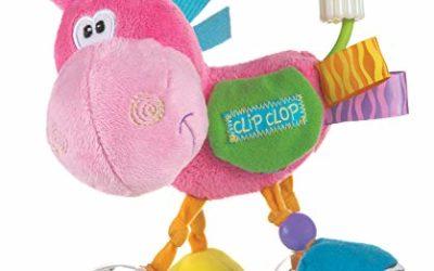 Playgro Plüschrassel Pferd, Lernspielzeug, Ab 3 Monaten, BPA-frei, Playgro Toy Box Pferd Klipp Klapp, Pink/Bunt, 40143